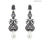 Antique Diamond Earrings 5 Ct Natural Certified Diamond Pearl 925 Sterling Silver Jewelry Weekend